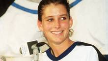 This is September 23, 1992 photo of Tampa Bay Lightning goaltender, Manon Rheaume, 20, smiling at a news confrence after making her debut against the St. Louis Blues at the Florida State Fairgrounds in Tampa. (TOM SEATON/THE ASSOCIATED PRESS)