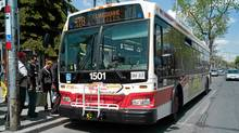 At least half the buses in the Toronto fleet are hybrid, so that means when the driver floors it, there's also a little burst from the electric motor. (Sami Siva/The Globe and Mail)