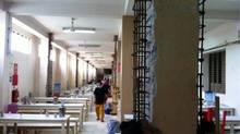 Gildan Activewear Inc.'s renovation of its factory near Dhaka included adding steel bars (shown in photo) and concrete to columns. (G.Gosseli/Gildan)
