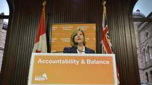 Ontario NDP Leader Andrea Horwath holds a news conference at Queen's Park on May 21, 2013. (NATHAN DENETTE/THE CANADIAN PRESS)