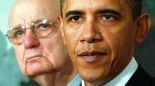Paul Volcker, left, with U.S. President Barack Obama. (KEVIN LAMARQUE/KEVIN LAMARQUE/REUTERS)