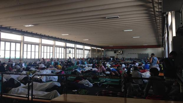 The distribution centre for asylum seekers in Passau, Germany, on September 21, 2015.