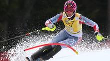 Marie-Michele Gagnon of Canada competes during the first run of an alpine ski, women's World Cup slalom, in Ofterschwang , Germany, Sunday, March 10, 2013. (Associated Press)