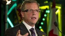 Saskatchewan Party Leader Brad Wall speaks to supporters at following his election victory, in his hometown of Swift Current, Sask., on Nov. 7, 2011. (David Stobbe/Reuters)