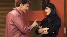 "This publicity image released by FX shows Charlie Sheen as Charlie Goodson and Selma Blair as Kate Wales in a scene from the new comedy ""Anger Management."" (Adam Rose/AP)"