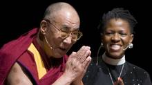 The Dalai Lama, left, greets the crowd prior to a panel discussion with the Reverend Mpho Tutu, right, in Vancouver Sunday. The Dalai Lama is visiting Vancouver to take part in the World Peace Summit. THE CANADIAN PRESS/Jonathan Hayward (Jonathan Hayward/The Canadian Press)