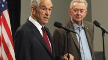 Ron Paul, left, former U.S. Republican primary candidate, speaks at a press conference with Preston Manning, former leader of the Reform Party, at the Manning Conference in Ottawa on March 8, 2013. (Patrick Doyle/The Canadian Press)
