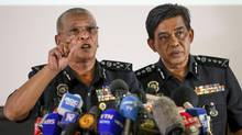 Deputy National Police Chief of Malaysia Noor Rashid Ibrahim (left) speaks as Selangor Police Chief Abdul Samah Mat listens during a press conference at the Bukit Aman national police headquarters in Kuala Lumpur, Malaysia, on Feb. 19, 2017. (Vincent Thian/AP)