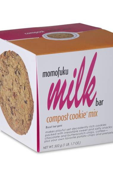 """FOR THE HOME BAKER: Momofuku Milk Bar """"Compost Cookie"""" Mix. Recreate the famous dessert from chef David Chang's New York sweet shop. Think of it as a mash-up of cookies with snack food's greatest hits. Yes, there are chocolate chips, but what really elevates the compost cookie are the pretzel bits, potato chips, notes of coffee, rolled oats, gram clusters and butterscotch clusters. $24.66, Williams-Sonoma"""