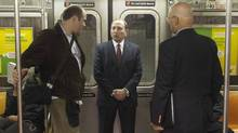 NHL Commissioner Gary Bettman (C) leaves the Barclays Center on a New York subway car following the announcement that the NHL's New York Islanders will move to the Barclays Center in Brooklyn from 2015, in New York October 24, 2012. (Reuters)