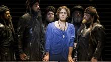 "Josh Young (centre) has been nominated for a best actor in a musical Tony Award for his portrayal of Judas in ""Jesus Christ Superstar."" (CP)"