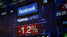Monitors show the value of the Facebook, Inc. stock during morning trading at the NASDAQ Marketsite in New York on June 4, 2012. (ERIC THAYER/REUTERS)