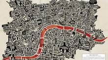 João Lauro Fonte used typography to map London and adds a red streak for the Thames. (Joäo Lauro Fonte from A Map of the World, Copyright Gestalten 2013)