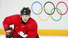 Canada's Sidney Crosby skates during the men's team ice hockey practice at the 2014 Sochi Winter Olympics on Feb. 12, 2014. (MARK BLINCH/REUTERS)