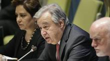United Nations Secretary-General Antonio Guterres speaks at a meeting about climate change and sustainable development at UN headquarters, on March 23, 2017. (Seth Wenig/AP)
