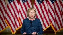 Democratic presidential candidate Hillary Clinton gives a statement to members of the media after attending a National Security working session at the Historical Society Library, in New York, Friday, Sept. 9, 2016. (Andrew Harnik/AP Photo)