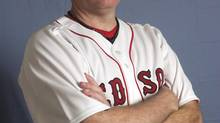 FILE - This is a Feb. 24, 2008 file photo showing Boston Red Sox baseball player Curt Schiling. Former major league pitcher Curt Schilling says he's battling mouth cancer and blames 30 years of chewing tobacco use. (Steven Senne/AP)