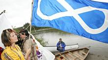 A Métis flag. The federal government took a close look at the group that represents Métis people across Canada after questions arose over its expenses, newly released documents show. (DAVID BLOOM/THE CANADIAN PRESS)