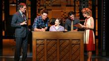 Cast members perform in Beautiful: The Carole King Musical, a story about the Brill Building and the teenage tunes penned therein by legendary songwriting teams such as Carole King and Gerry Goffin, Cynthia Weil and Barry Mann, and Burt Bacharach and Hal David. (JOAN MARCUS)