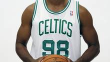 NBA veteran center Jason Collins has become the first male professional athlete in the major four American sports leagues to come out as gay. Collins wrote a first-person account posted Monday, April 29, 2013 on Sports Illustrated's website. He finished this past season with the Washington Wizards and is now a free agent. Here he poses during the Boston Celtics NBA basketball media day on Sept. 28, 2012. (Michael Dwyer/The Associated Press)
