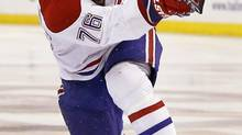 Montreal Canadiens' P.K. Subban follows through on his game-winning goal in the second overtime period against the Boston Bruins in Game 1 of an NHL hockey second-round playoff series in Boston, Thursday, May 1, 2014. The Canadiens won 4-3. (Elise Amendola/AP)