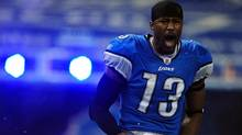 Detroit Lions wide receiver Nate Burleson during player introductions prior to the game against the San Diego Chargers at Ford Field. (Andrew Weber/US PRESSWIRE/Andrew Weber/US PRESSWIRE)