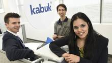 From left, the co-founders of Kabuk : Lucas Litwiniuk, Babak Bagherizadeh and Asha Soares in the company's downtown office on June 5 2015. (Fred Lum/The Globe and Mail)