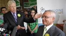 Outgoing mayor David Miller officially declares his support for Joe Pantalone in his bid to become Toronto's next mayor, during a news conference in Scarborough, October 6, 2010. (J.P. MOCZULSKI/J.P. Moczulski/The Globe and Mail)