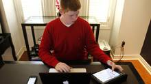 Sixteen-year-old student Patrick Mott while using social media at his home in Pickering, Ont., Oct. 2 2013. (Fernando Morales/The Globe and Mail)