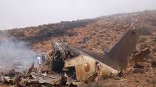 View of the wreckage of a military transport plane after it crashed in Goulmim, southern Morocco on July 26, 2011. (AFP/Getty Images/AFP/Getty Images)