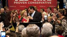 U.S. Senate candidate Ted Cruz thanks his wife, Heidi, in front of a cheerful crowd after he defeated Republican rival, Lt. Gov. David Dewhurst, in a runoff election for GOP nomination for the U.S. Senate seat vacated by the retiring Kay Bailey Hutchison, Tuesday, July 31, 2012, in Houston. (Johnny Hanson/AP)