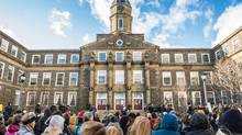 Protesters gathered in front of the offices of the president of Dalhousie University, in Halifax. The protest was a reaction to comments allegedly made on social media by male dentistry students. (Scott Munn)