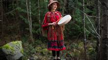 Singer and climate change activist Ta'Kaiya Blaney sings on the Mosquito Creek hiking trail near her North Vancouver home. (DARRYL DYCK FOR THE GLOBE AND MAIL)