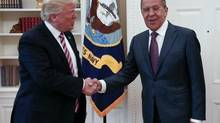 This handout photo released by the Russian Ministry of Foreign Affairs, shows President Donald Trump meeting with Russian Foreign Minister Sergey Lavrov in the Oval Office of the White House in Washington, Wednesday, May 10, 2017. (Russian Foreign Ministry/AP)