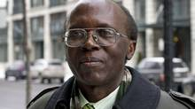 Leon Mugesera appars outside Federal Court in Montreal on Jan. 9, 2012. (Paul Chiasson/Paul Chiasson/The Canadian Press)