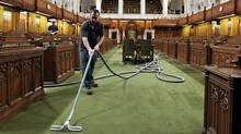 A maintenance worker cleans the House of Commons ahead of the return of Parliament on Jan. 27, 2011. (FRED CHARTRAND/THE CANADIAN PRESS)