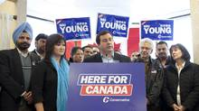Conservative MP and Minister Jason Kenney speaks to media Wednesday in the campaign office of Vancouver South Conservative candidate Wai Young. (Brett Beadle for The Globe and Mail/Brett Beadle for The Globe and Mail)