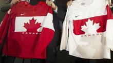 The Sochi Winter Olympic hockey jerseys for Team Canada (Peter Power/The Globe and Mail)