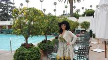Hadani Ditmars begins her visit at the Beverly Hills Hotel, where lemon trees grace the pool deck and