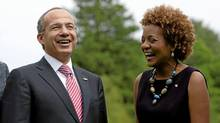 Governor General Michaelle Jean shares a laugh with Mexican President Felipe Calderon at Rideau Hall in Ottawa on May 27, 2010. (Sean Kilpatrick/The Canadian Press)