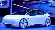 The concept I.D. by Volkswagen is presented on the first day of the press days of the Paris motor Show, on September 29, 2016. (ERIC PIERMONT/AFP/Getty Images)
