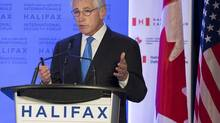 U.S. Secretary of Defence Chuck Hagel fields questions at a news conference at the Halifax International Security Forum in Halifax on Friday, Nov. 22, 2013. (Andrew Vaughan/THE CANADIAN PRESS)