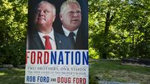 An election-style lawn poster promotes the new book Ford Nation, Two Brothers, One Vision: The True Story of the People's Mayor. (Christopher Katsarov/The Canadian Press)