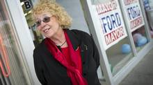 Louise Boehler, campaign administrator for the east side of the city, is seen at Rob Ford's campaign office in Scarborough on May 28. She spends her days checking for voice messages, setting volunteers up with flyers and bumper stickers and then sending them out to canvass the city streets. (Kevin Van Paassen For The Globe and Mail)