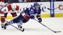 Maple Leafs forward Leo Komarov has one goal in his past 16 games, part of a regression matching that of his team. (John E. Sokolowski/USA Today Sports)
