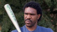 Andre Dawson talks to a reporter after a practice in this March 7, 1987 photo. Former Montreal Expo Dawson has been elected to the Baseball Hall of Fame. (PAUL CHIASSON)