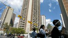 View of apartment buildings from Sherbourne St. in the St. James Town area of downtown Toronto located in the vicinity of Sherbourne St. and Wellesley St. East. (Louie Palu/Louie Palu/The Globe and Mail)