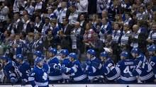 The Toronto Maple Leafs celebrate a goal by Leafs winger Phil Kessel early during the third period of Game 3 between the Toronto Maple Leafs and the Boston Bruins at the Air Canada Center in Toronto on May 06, 2013. (Peter Power/The Globe and Mail)