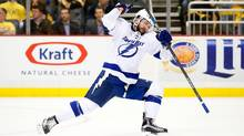 Nikita Kucherov of the Tampa Bay Lightning celebrates after scoring a goal against the Pittsburgh Penguins in Game 5 of the Eastern Conference final on Sunday. (Justin K. Aller/Getty Images)