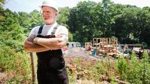 Builder Mike Holmes is seen in front of the Toronto High Park playground as it is rebuilt in the scorching heat on July 6, 2012. (JENNIFER ROBERTS FOR THE GLOBE AND MAIL)